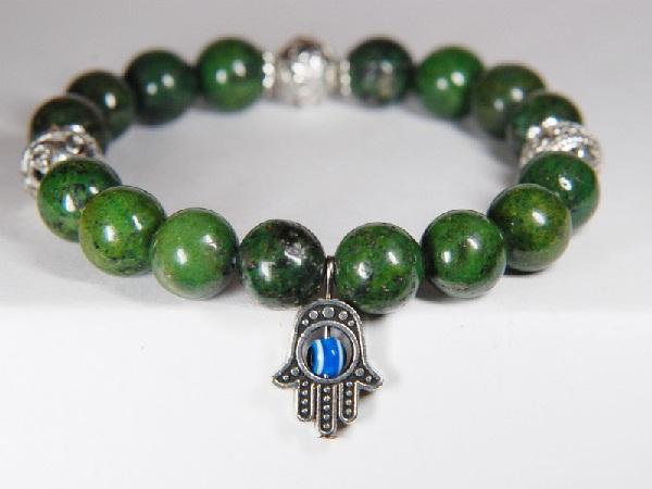Лечебный браслет с зеленой яшмой
