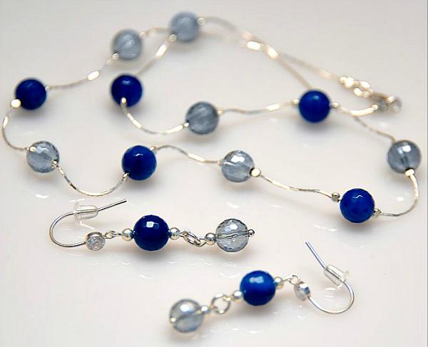 Синий агат комплект