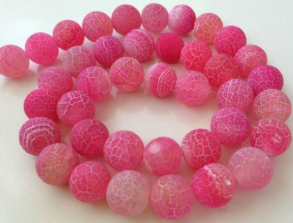 Розовый агат бусы
