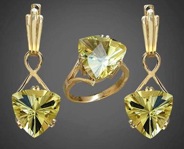 Набор серьги и кольцо с бериллом