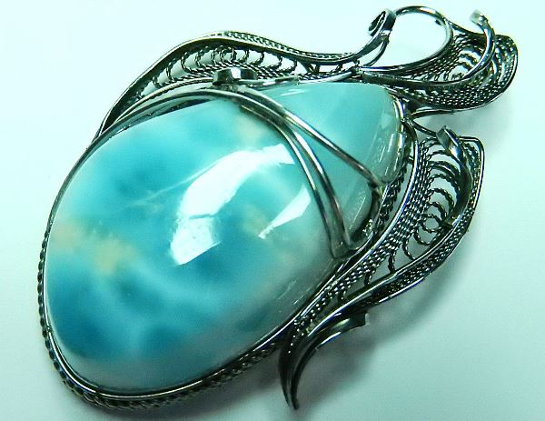 Кулон серебряный с ларимаром