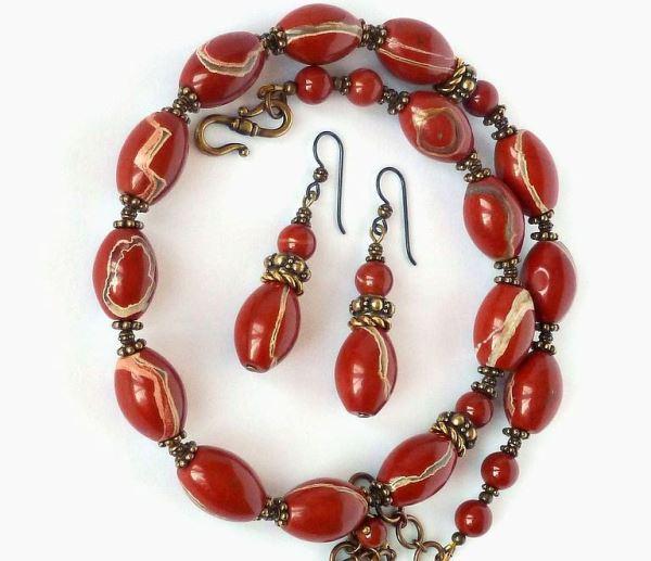 Красная яшма - комплект украшений