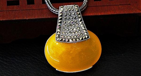 Серебряная подвеска с желтым цитрином